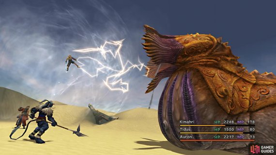 The Sand Worm can remove a party member from battle with Swallow