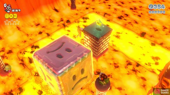 The first Green Star will be on a pillar by the Fire Piranha Plants