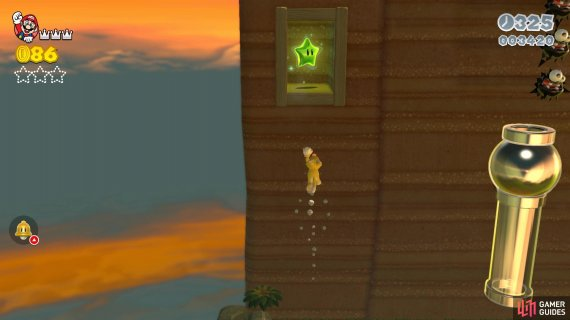 The first Green Star will be in an alcove by the first wall you climb