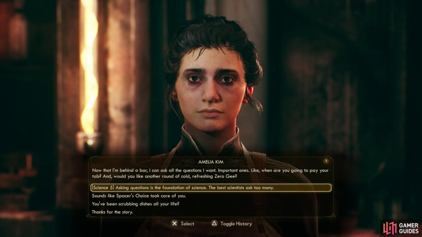 You can chat with Amelia in the cantina to attempt some dialogue checks