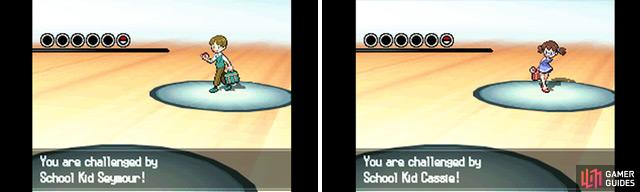 The first school kid will use a Pokemon weak to your starter, while the second has a Pokemon that's strong.