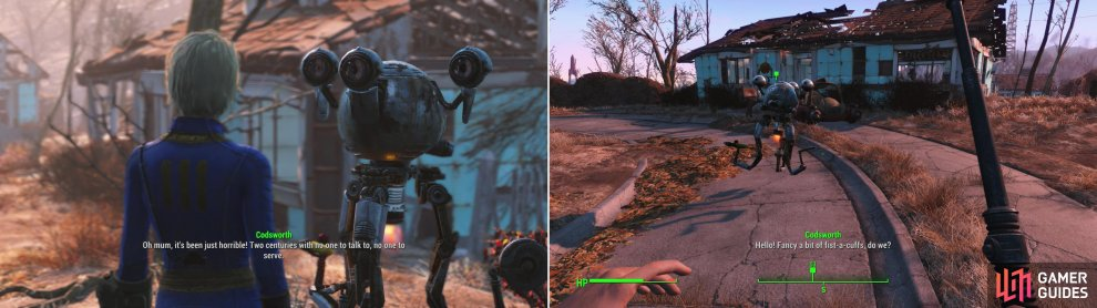 Return to your house to find your faithful robot bulter, Codsworth, trying his best to tend to the ruins (left). Accompany him on a sweep through Sanctuary in search of clues (right).