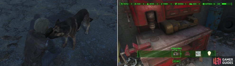 Dogmeat is a loyal companion who will follow you faithfully no matter what (left). You can mess around with the Workshop at the Red Rocket Truck Stop if you're so inclined (right).