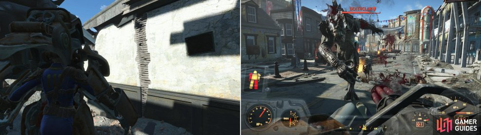 Enter the abandoned T45-d Power Armor on the roof (left) then do battle with the Raiders and the Deathclaw on the streets of Concord (right).