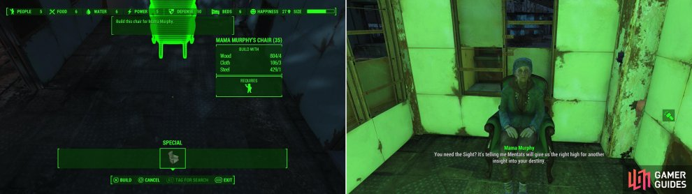 "Talk to Mama Murphy and she'll ask you to build her a specific chair for her to rest in between hits (left). After she's resting comfortably, furnish her with chems to benefit from her ""visions"" (right)."