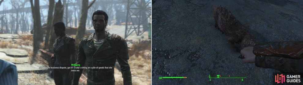 Wolfgang and Trudy are having a dispute, which is on the very of turning violent (left). Kill the Mole Rats infesting the Starlight Drive-In to claim the place as a new settlement (right).