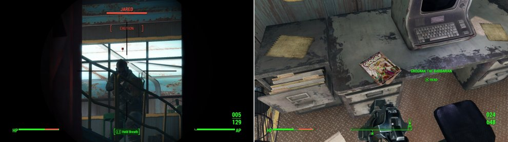 Put a bullet (or several) in the leader of the Corvega Raiders - Jared - to put the good poeple at Tenpines Bluff at east (left). In the offices Jared occupied you'll find a copy of Grognak the Barbarian (right).