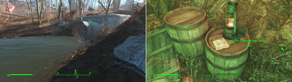 Find a drainage pipe near Walden Pond (left) which leads to a Raider Den. Inside you'll find a Tale of a Junktown Jerky Vendor magazine (right).