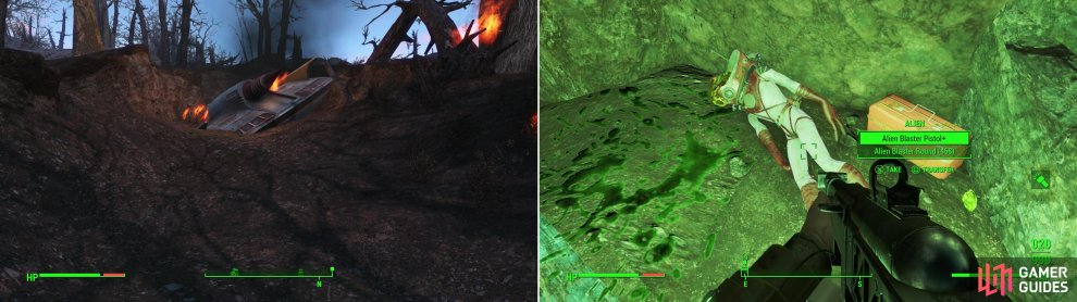 "Follow the ""Garbled Radio Beacon"" to find a crashed alien ship (left) then track some green blood to a nearby cave to find a hostile Alien. Kill it and claim its might Alien Blaster (right)."