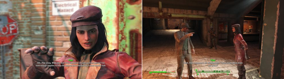Outside of Diamond City you'll find Piper, a colorful character who opportunistcally uses you to get back home (left). Shortly thereafter you'll witness her and the mayor express... a difference in opinion on free speech (right).