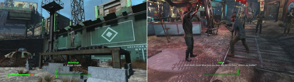 The mayor gives an impassioned speech declaring he's not a Synth (left) and you'll witness other unfortunate incidents of Snyth hysteria while you explore Diamond City (right).