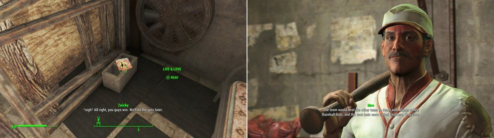 Grab the Live & Love magazine from the Schoolhouse to obtain one of the rare bits of notable loot in Diamond City (left). Moe has some… odd thoughts on how baseball was played. Probably would be a more interesting sport that way, though. (right).