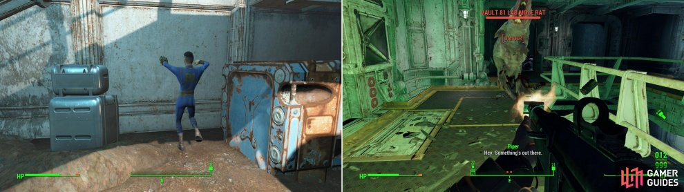 Bobby will perform a magic dance and summon a door to the seal parts of Vault 81 (left). If these diseased Mole Rats bite you, you'll become infected, suffering a permanent damage to your maximum health (right).