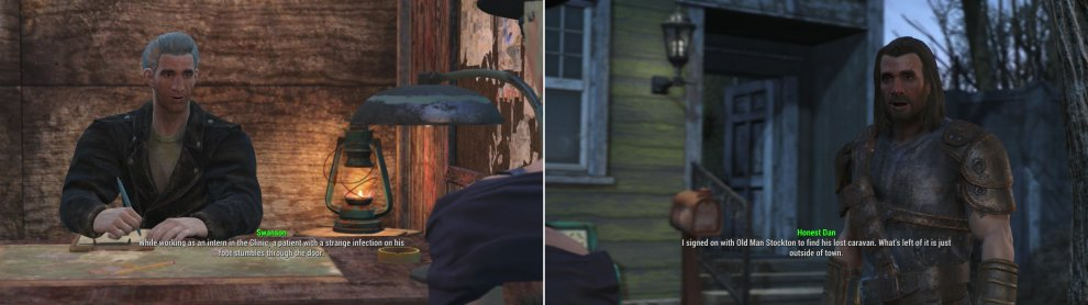 Take the SAFE test to gain entry to Covenant (left). Inside you'll find Honest Dan, who is looking for clues as to what happened to Old Man Stockton's caravan (right).