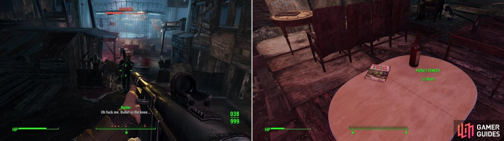 Kill the Raiders inside the Combat Zone and make the area live up to its name (left) then search around for an issue of Picket Fences (right).