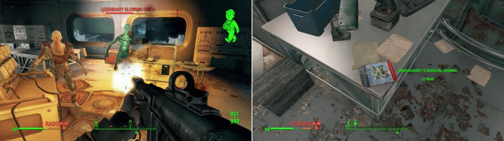 Kill the Feral Ghouls in the Sub-Levels, including a rare Glowing One (left). The lab occupied by the Glowing One also houses a copy of the Massachusetts Surgical Journal (right).