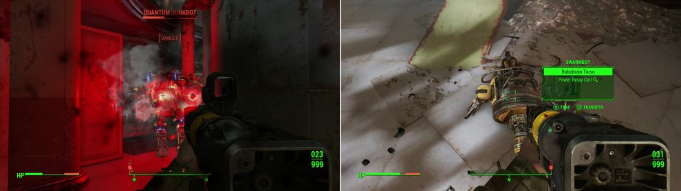 Destroy more Mechanist robots (left) and you may randomly find robot mods on their remains, allowing you to craft more parts at the Robot Workbench (right).