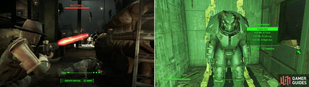 More Rust Devils await you in the depths of their base (left). After fighting amidst ruined tanks, claim a suit of leveled Power Armor from the defeated Rust Devils (right).
