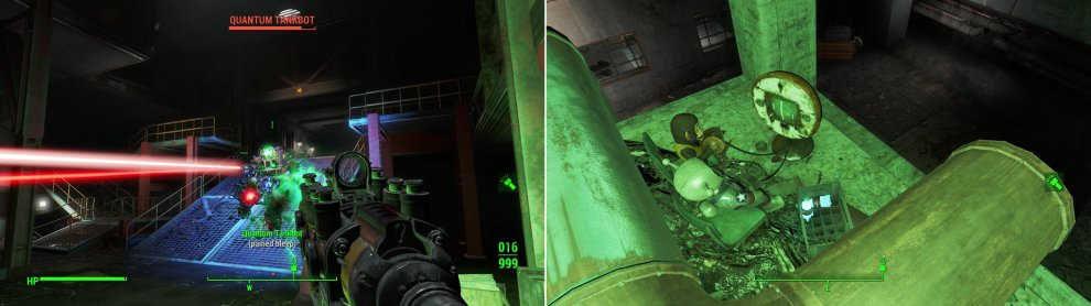 Expect the Mechanist to pull out all stops defending their lair, even by deploying Tankbots (left)! Fortunately, gaming culture is alive and well in post-apocalyptia (right).