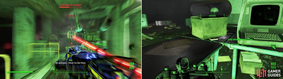 After breaking through the initial defenses of the Mechanist's lair you'll be confronted by the Mechanist's Eyebot, with words, then with lasers! (left) Grabbing the holotapes of important pre-war figures may lead to opportunities later on… (right).