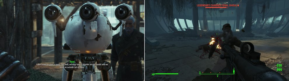 "When you return to Far Harbor you may encounter the robot, Pearl, who is in need of a detective something fierce (left). The ""rowdy"" guests she was talking about just happen to be Feral Ghouls (right)."