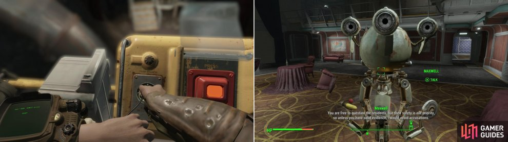 Make your way through the hotel and interface with the Vault 118 door controls (left) then talk to Maxwell to learn some specifics about the murder (right)... and some rules for handling the vault dwellers.