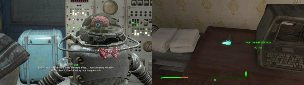 Chat with Bert to learn more about the peculiarities of Robobrains and to dig up another lead (left). Search Ezra's room to find the Vault 118 Overseer's Key (right).