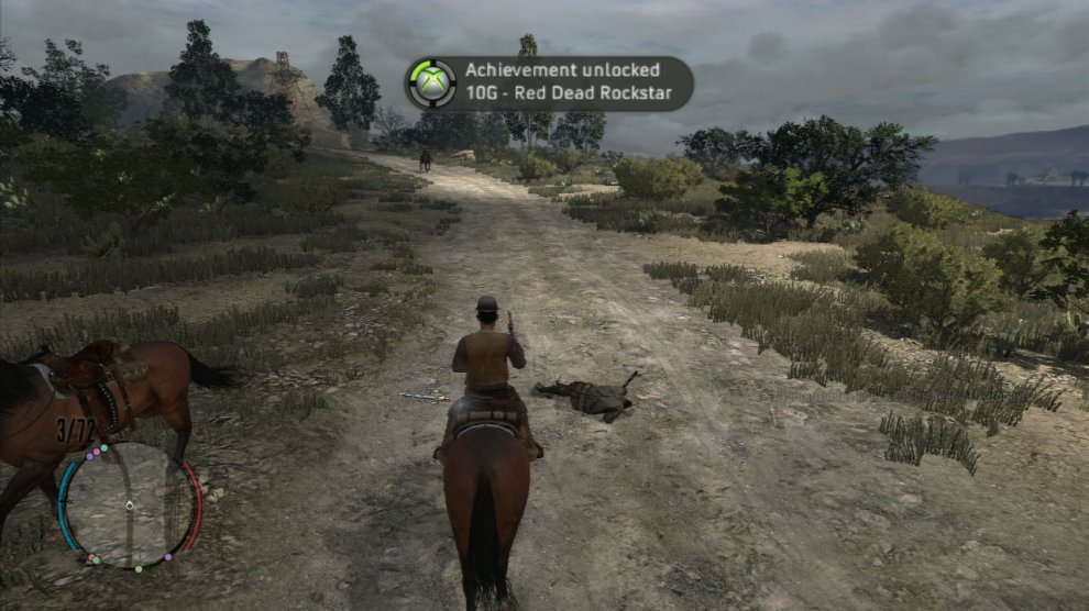 Red Dead Redemption has the usual split of achievements/trophies, but it's not a good game for those who like quick and easy points/trophies. You can play this game for a few hours easily before it starts to dish any achievements or trophies out!