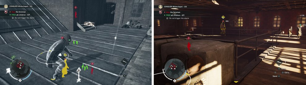 The roof is a good entry point and allows you to tag most enemies as well (left). Enter the building and kill the foreman (right).