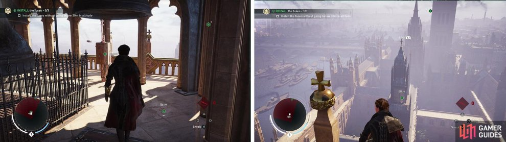 You'll need to disable three fuses (left). Use the rope launcher between the spires to stay above 30 meters (right).