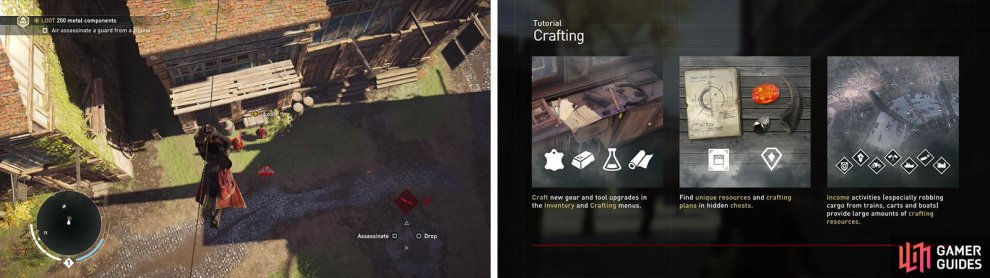 Be sure to air assassinate an enemy from the zip line (left). Use the crafting menu to upgrade the Smoke Bombs (right).