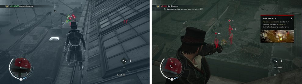Use Eagle vision to identify the targets (left). Use the darts to affect the enemies (right).