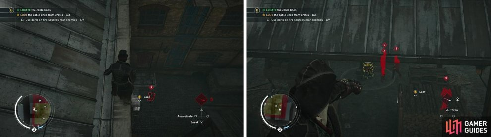 You'll need to examine three chests (left). Using the darts effectively to create distractions (right).