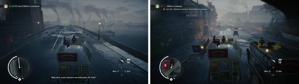 Cross the bridge (left) and then take out the hostile carriage attacking the onmnibus (right).