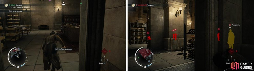 Continue through the secret passage until you reach the vault (left). Whistle the target over when he gets in range for a corner assassination (right).