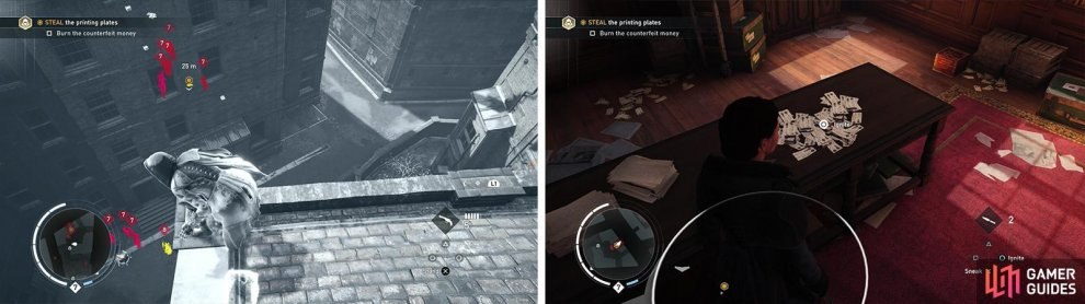 There are plenty of enemies guarding the plates (left) so its easier to enter via the window. Once inside, be sure to burn the fake money (right) before leaving.