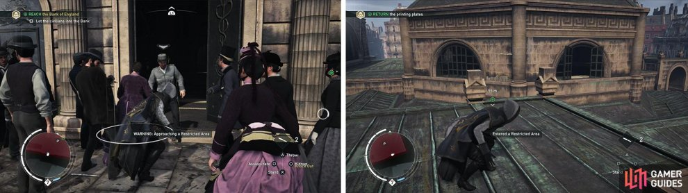 Knock out the policeman at the door (left) for the optional objective. The southern rooftop entrance (right) is the easiest way into the target area.