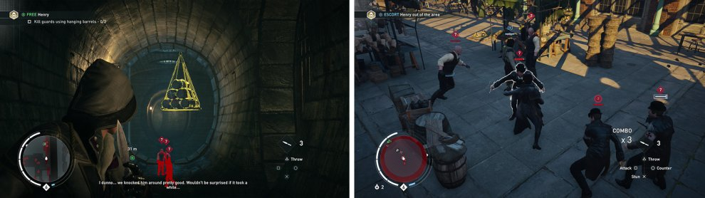 Use the hanging barrels to kill enemies for the optional objective (left). Escort the prisoner through the marketplace (right).