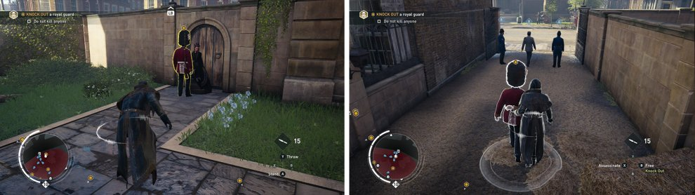 Find the guard in the southwest corner of the area and grab him when isolated (left). Escort him out of the area (right).
