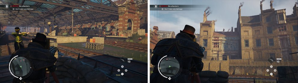 Watch out for enemies on the station platforms (left) and the rooftops on the right (right).