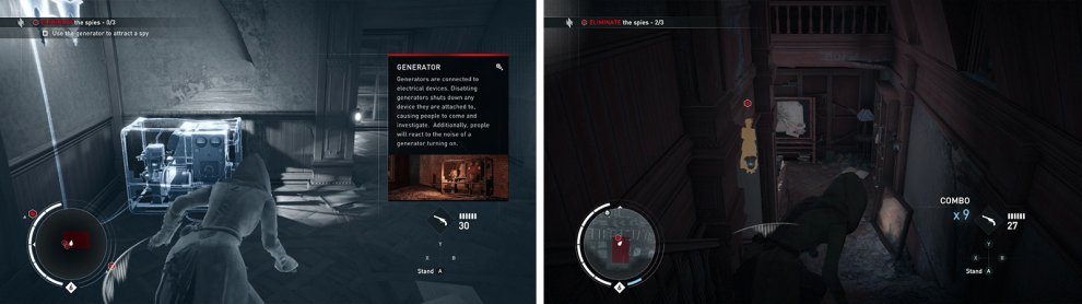 Use the generator to lure enemies into assassinations (left) before moving down to finish off the remaining enemies (right).