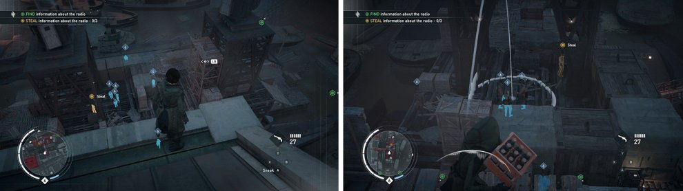 The first radio can be found by the docks (left). The nearby dynamite is a good way to thin out enemy numbers (right).
