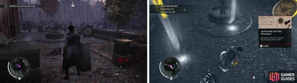 Investigate the body (left) and then investigate the clues in the search area (right).