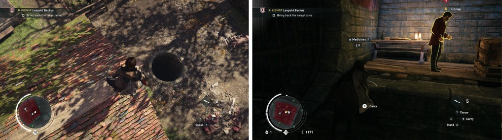 Find the ladder leading to the sewers (left) and grab the target within (right).