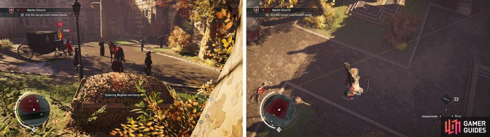 The target is found in a small courtyard (left). Kill him with an air assassination from the Rope Launcher (right).