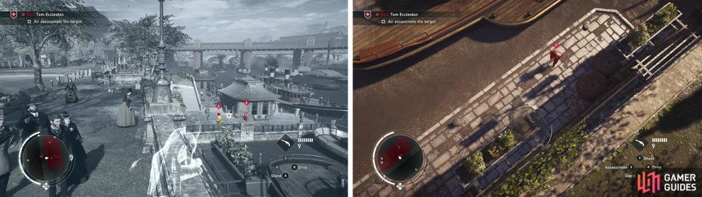 The target can be assassinated from the wall above (left). Wait for him to run below (right).