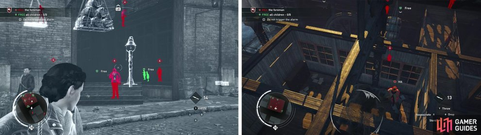 Disabling the alarm bell will make things easier (left). Afterwards climb to the rooftop and kill the foreman (right).