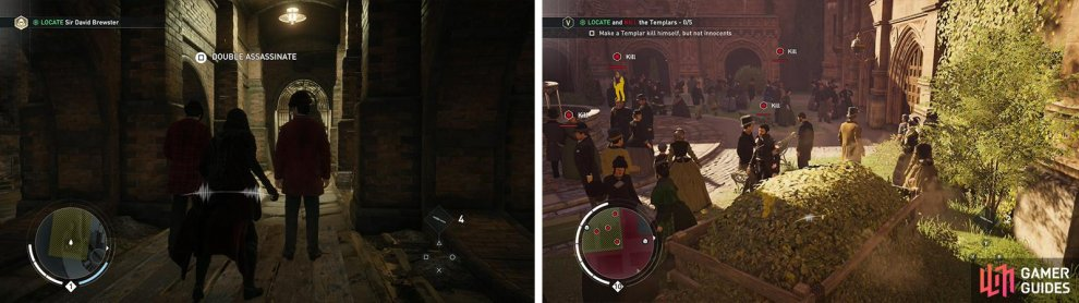 Approach a pair of enemies to perform a double assassination (left). Assassinating from a hiding spot is a great way to deal with patrolling enemies (right).