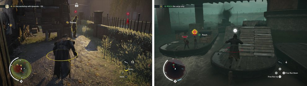 Yellow indicates you have been spotted (left). When the indicators turn red, enemies will attack (right).