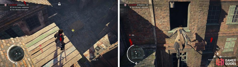 After assassinating the Leader undetected (left). Enter the building on the southwest side of the area for the heist plans (right).